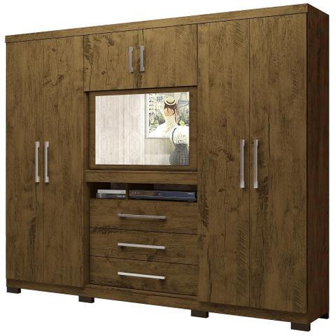 Imagem de Guarda roupa casal Dubai 6 Portas 3 Gavetas Multifuncional com Painel para Tv de 32 -  Moval - Castanho com Wood