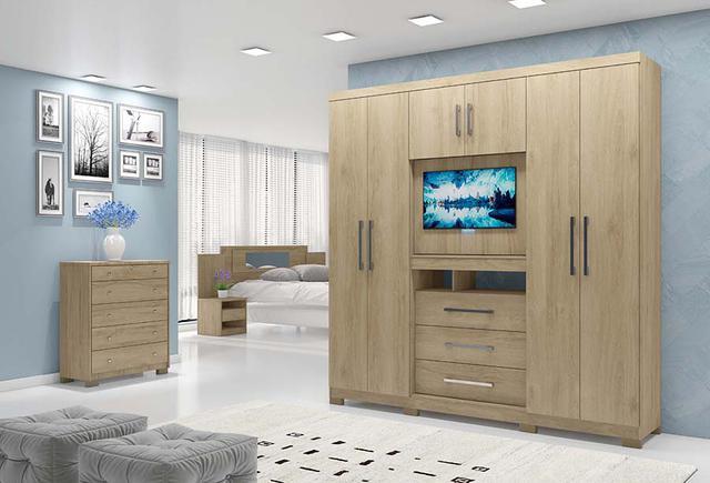 Imagem de Guarda Roupa Casal Dubai Moval com Painel para Tv de 32