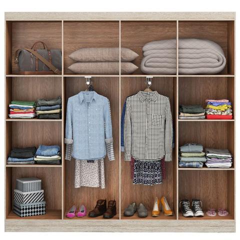 Imagem de Guarda-roupa Casal Ele & Ela 8 Portas 8 Prateleiras Malbec Bege - Decibal Móveis