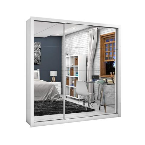 Imagem de Guarda Roupa Casal Espelhado 3 Portas de Correr 3 Gavetas Clarice Premium Espresso Móveis Branco