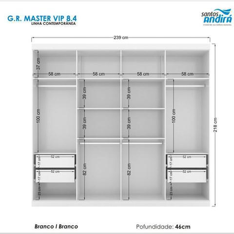 Imagem de Guarda-Roupa Casal Havana Master Vip 8 Portas 4 Gavetas com Espelho e Cômoda 1 Porta 4 Gavetas Santos Andirá