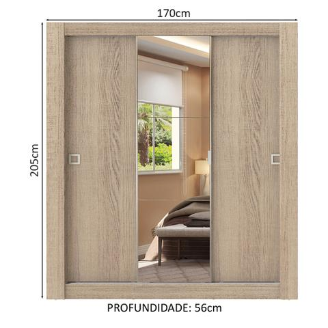 Imagem de Guarda-Roupa Casal Madesa City 3 Portas de Correr com Espelho