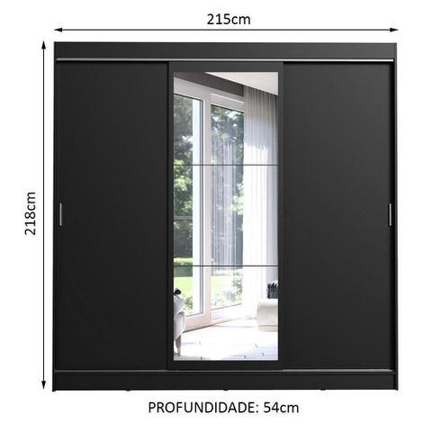 Imagem de Guarda-Roupa Casal Madesa Istambul 3 Portas de Correr com Espelho 3 Gavetas - Preto