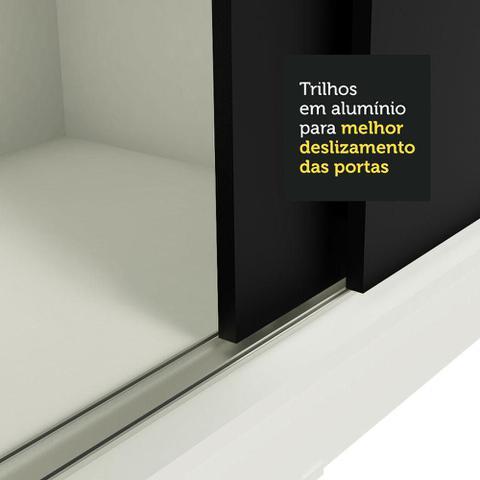 Imagem de Guarda-Roupa Casal Madesa Istambul 3 Portas de Correr com Espelhos 3 Gavetas - Branco/Preto