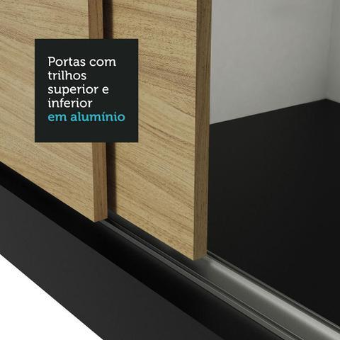 Imagem de Guarda-Roupa Casal Madesa Lyon 3 Portas de Correr 2 Gavetas - Preto/Carvalho