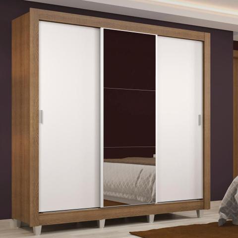Imagem de Guarda Roupa Casal Madesa Lyon 3 Portas de Correr com Espelho 2 Gavetas com Pés
