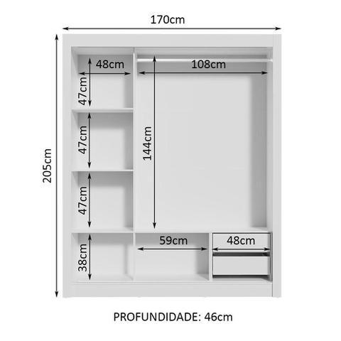 Imagem de Guarda Roupa Casal Madesa Lyon 3 Portas de Correr com Espelho 2 Gavetas