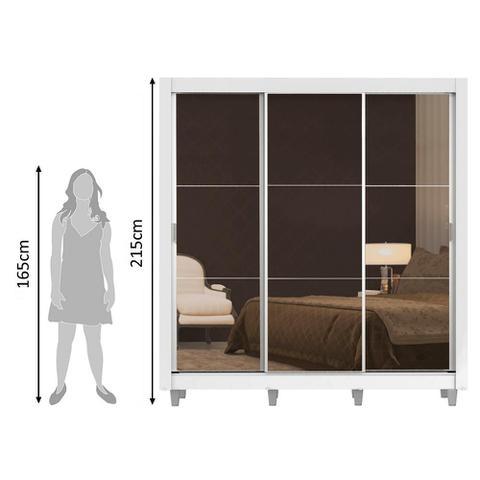 Imagem de Guarda Roupa Casal Madesa Lyon 3 Portas de Correr de Espelho 2 Gavetas com Pés