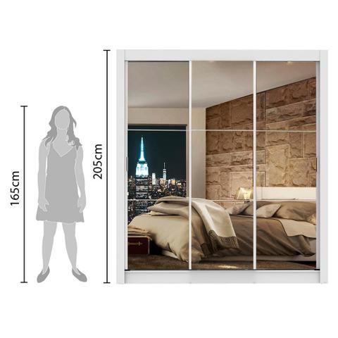 Imagem de Guarda Roupa Casal Madesa Lyon 3 Portas de Correr de Espelho 2 Gavetas