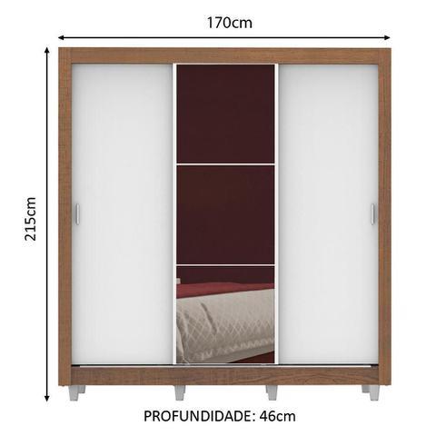 Imagem de Guarda Roupa Casal Madesa Lyon Plus 3 Portas de Correr com Espelho 4 Gavetas com Pés