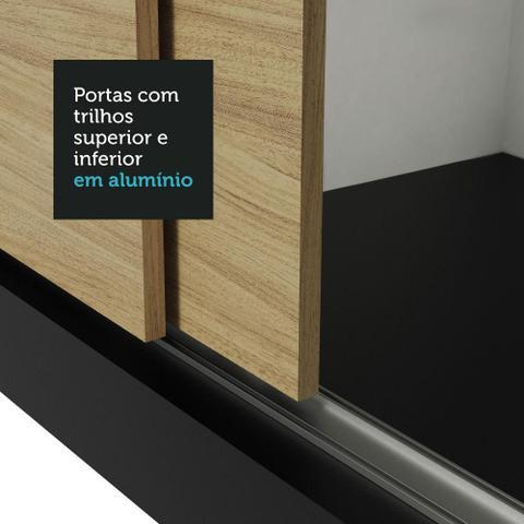 Imagem de Guarda-Roupa Casal Madesa Lyon Plus 3 Portas de Correr com Espelho 4 Gavetas - Preto/Carvalho