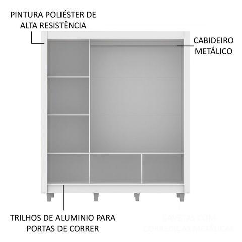Imagem de Guarda Roupa Casal Madesa Mônaco 3 Portas de Correr com Espelho com Pés Branco - Madesa Móveis