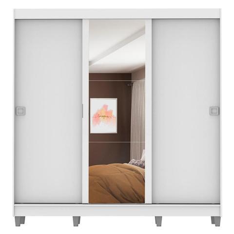 Imagem de Guarda-Roupa Casal Madesa Napoli 3 Portas de Correr Central com Espelho com Pés