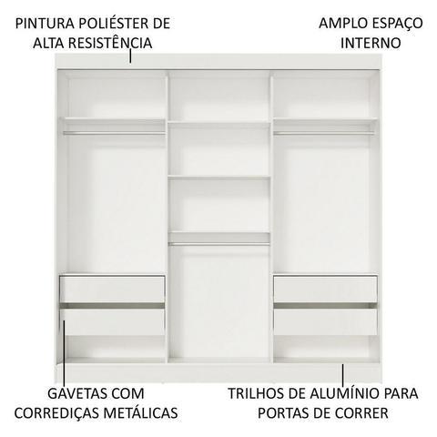 Imagem de Guarda-Roupa Casal Madesa Napoli 3 Portas de Correr com Espelho - Madesa Móveis