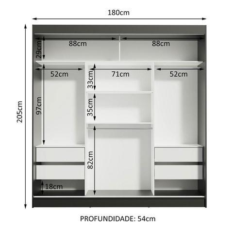 Imagem de Guarda-Roupa Casal Madesa Reno 3 Portas de Correr com Espelho - Preto/Carvalho