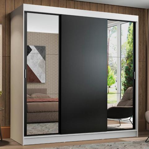 Imagem de Guarda-Roupa Casal Madesa Reno 3 Portas de Correr com Espelhos