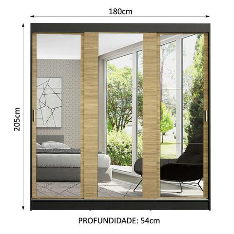 Imagem de Guarda-Roupa Casal Madesa Reno 3 Portas de Correr de Espelho - Preto/Carvalho