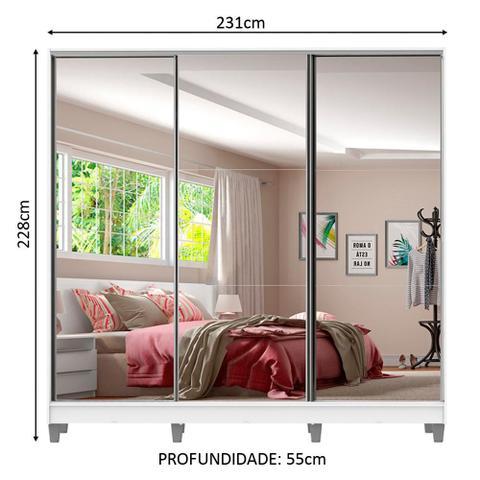 Imagem de Guarda Roupa Casal Madesa Royale 100% MDF 3 Portas de Correr de Espelho com Pés