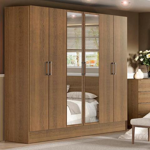 Imagem de Guarda-Roupa Casal Madesa Vip Plus 6 Portas Batentes com Espelho