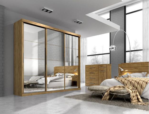 Imagem de Guarda roupa casal nice mdf 3 portas correr castanho com espelho nas 3 portas