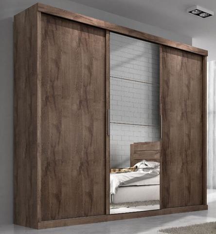Imagem de Guarda roupa casal nice mdf 3 portas correr chocolate com espelho