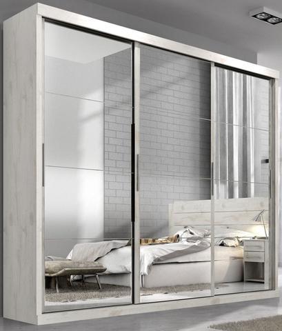 Imagem de Guarda roupa casal nice mdf 3 portas correr nevado com espelho nas 3 portas