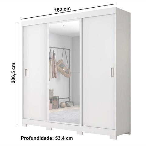 Imagem de Guarda Roupa Casal Notável Com Espelho 3 Portas Correr Branco New