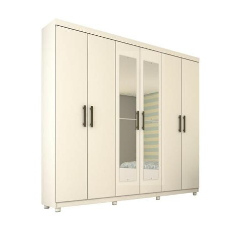 Imagem de Guarda-Roupa Casal Olimpo com Espelho e Pes 6 Portas 3 Gavetas Branco
