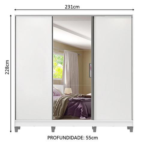 Imagem de Guarda Roupa Casal Royale 100% MDF 3 Portas de Correr com Espelho com Pés 1063-1ECP Madesa