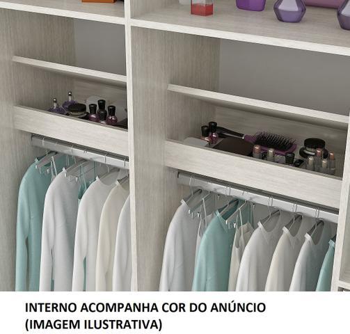 Imagem de Guarda roupa casal sevilha mdp 3 portas correr 6 gavetas com espelho castanho