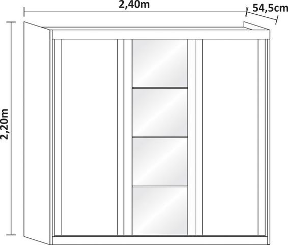 Imagem de Guarda roupa casal sevilha mdp 3 portas correr 6 gavetas com espelho nas 3 portas nevado