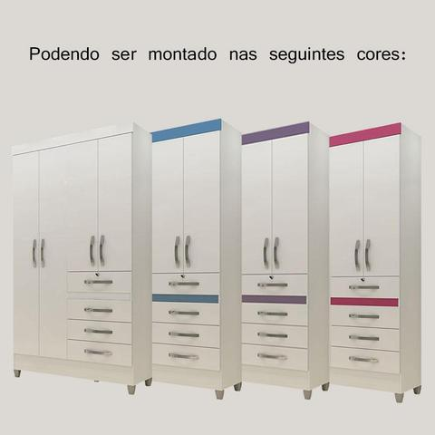 Imagem de Guarda Roupa Casal Sobral Branco Multicolor - Moval