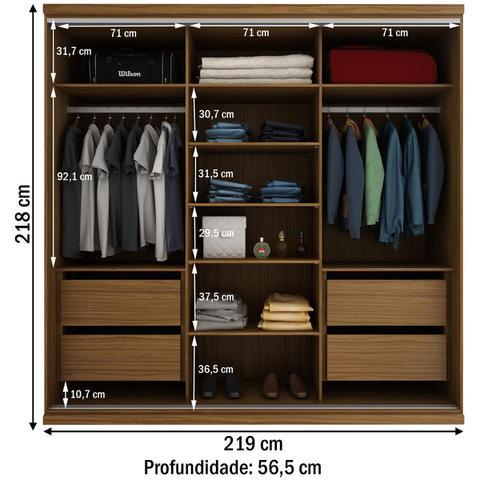 Imagem de Guarda-roupa Casal South 3 Portas De Correr 4 Gavetas 100% Mdf Nogueira - Manbel
