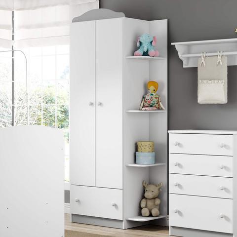 Imagem de Guarda Roupa de Bebê 2 Portas 1 Gaveta Confete Plus Multimóveis Flex Color Branco Polar/Colorido Premium