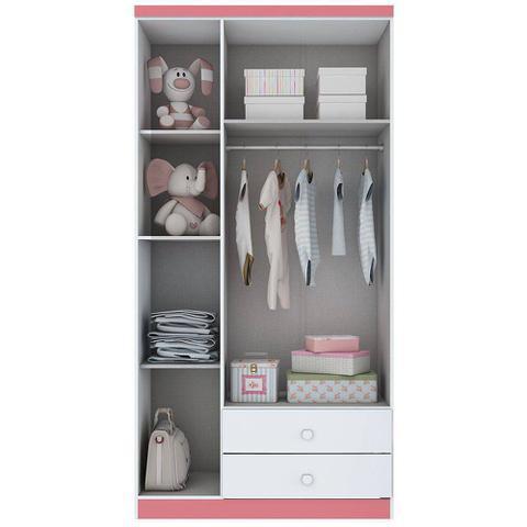 Imagem de Guarda Roupa de Bebê 3 Portas 2 Gavetas e Nicho Bala de Menta Flex Color Henn Branco/Branco/Rosa Chá