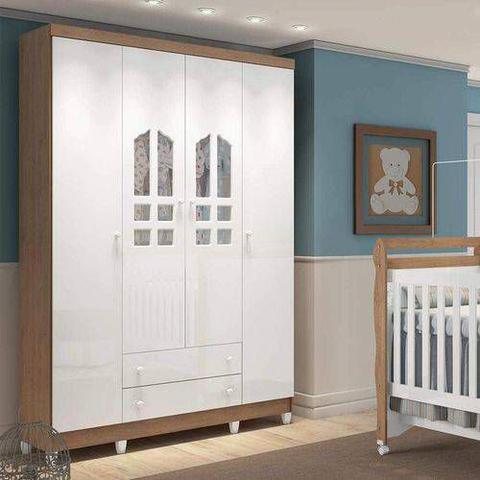 Imagem de Guarda Roupa de Bebê 4 Portas 2 Gavetas Selena Carolina Baby Amadeirado Rústico