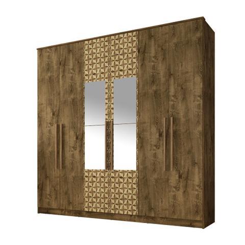 Imagem de Guarda Roupa Dublin 6 Portas Com Espelho Rustica e Mad. 3D