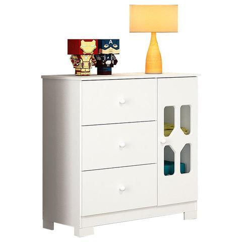 Imagem de Guarda Roupa e Cômoda Infantil 4 Portas New Cristal Branco Brilho  Canaã