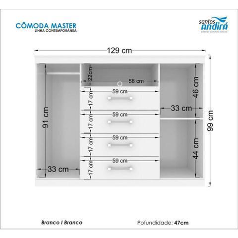 Imagem de Guarda Roupa Havana Master 8 portas 4 gavetas + Comoda Master 2 portas 4 gavetas Branco