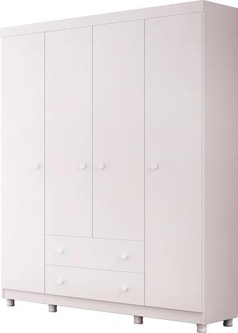 Imagem de Guarda Roupa Infantil 4 Portas e 2 gavetas Amore Branco - Qmovi