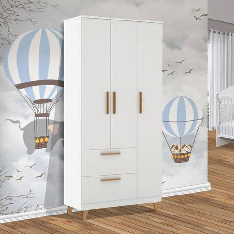 Imagem de Guarda roupa infantil de bebe branco 3 portas Theo Imaza