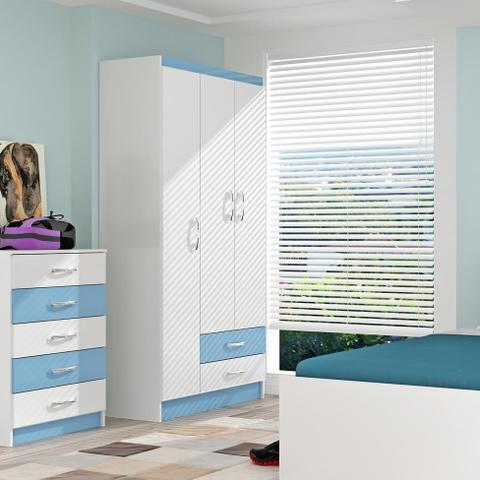 Imagem de Guarda-Roupa Infantil Pitica 3PT Branco e Azul