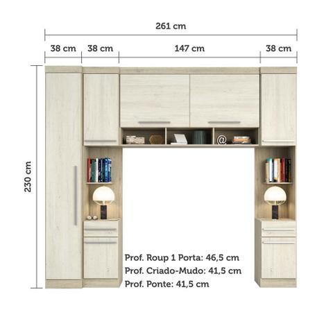 Imagem de Guarda Roupa Modulado Casal 7 Portas 2 Gavetas com Armario Ponte 147cm Master Luciane Móveis