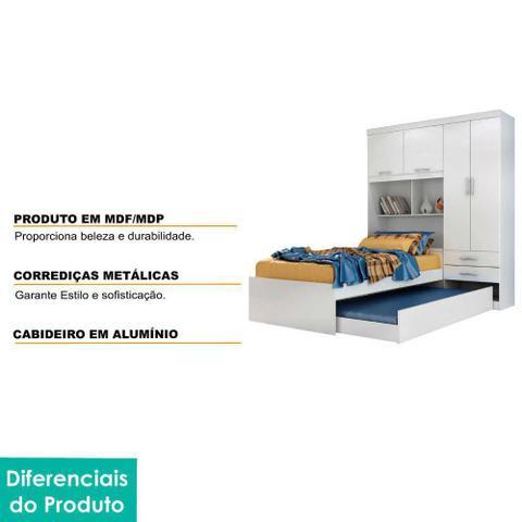 Imagem de Guarda Roupa Modulado Solteiro 4 portas com Bicama Fusion Moverama Branco
