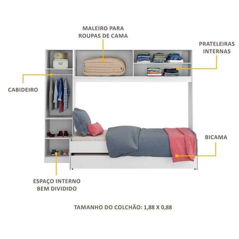 Imagem de Guarda-Roupa/Roupeiro Multimóveis c/Bicama para colchão 190cmx90cm Branco REF.2691.697