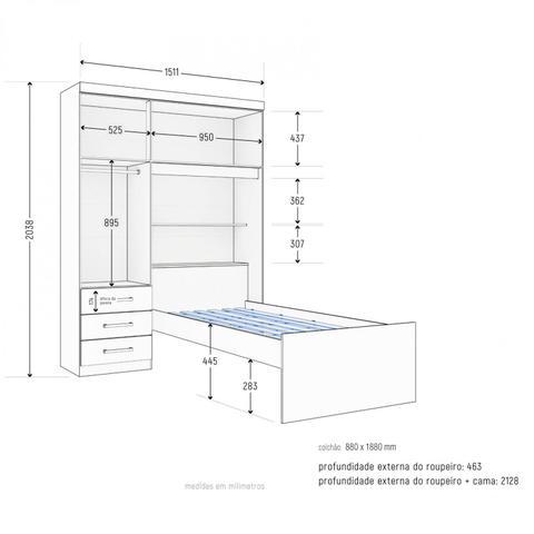 Imagem de Guarda Roupa Solteiro 3 Portas e Cama Baú Premium Zanzini Demolição