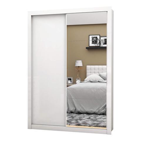 Imagem de Guarda Roupa Solteiro 4 Espelhos 2 Portas de Correr Roma New Siena Móveis Branco