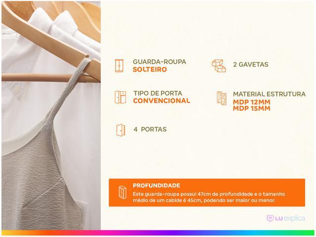 Imagem de Guarda-roupa Solteiro 4 Portas 2 Gavetas Poliman