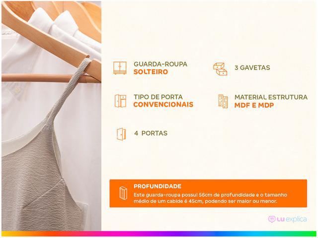 Imagem de Guarda-roupa Solteiro 4 Portas 3 Gavetas