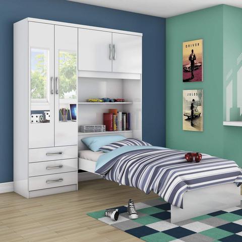 Imagem de Guarda Roupa Solteiro 4 Portas com Espelho e Cama Baú Happy Espresso Móveis Branco Rosa